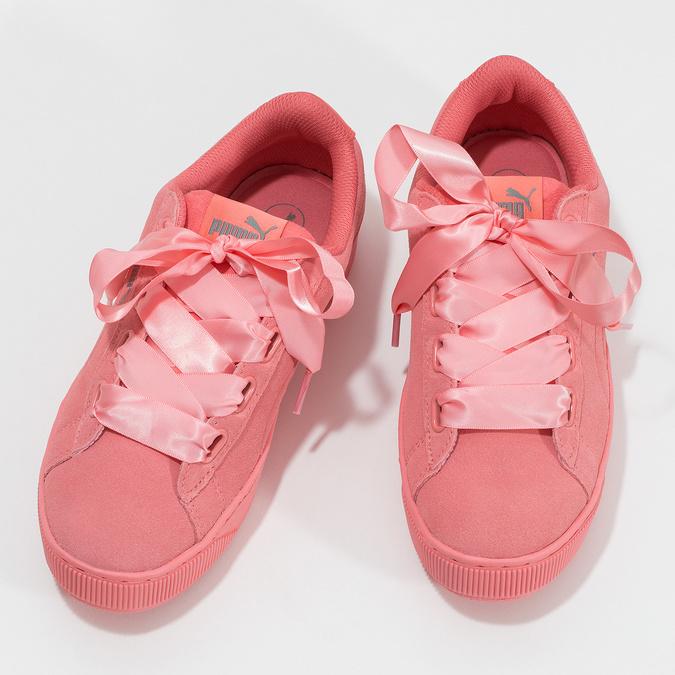 Růžové kožené tenisky na flatformě puma, růžová, 503-5737 - 16
