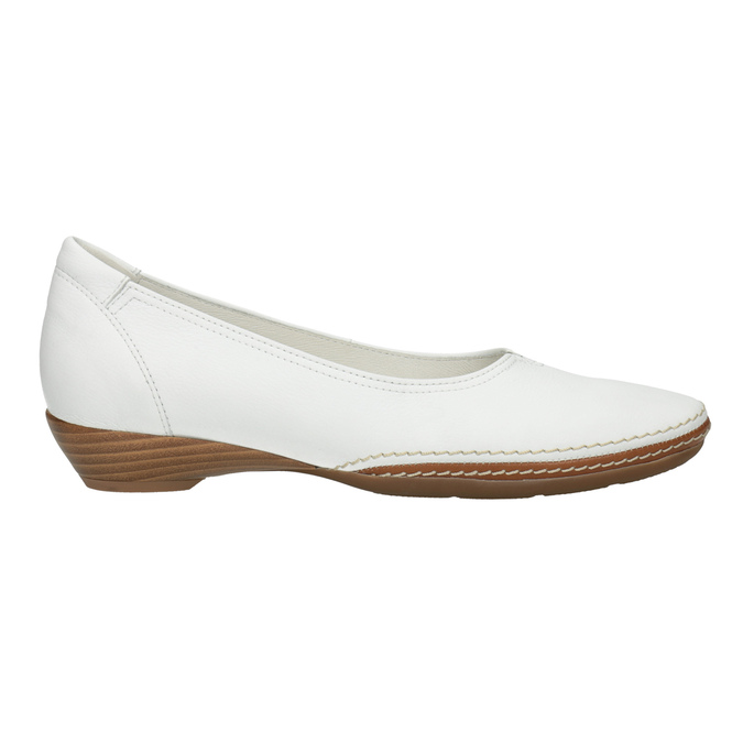 Bílé kožené baleríny s prošitím gabor, bílá, 526-1031 - 26