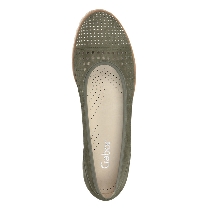 Khaki baleríny s perforací gabor, khaki, 523-7010 - 15