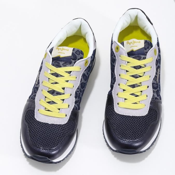 Dámské tenisky se žlutými detaily a vzorem pepe-jeans, modrá, 549-9024 - 16