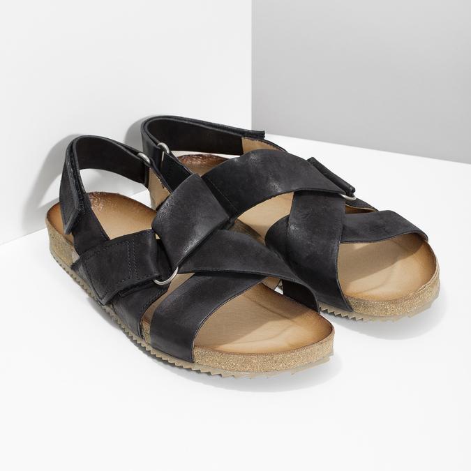 Pánské kožené sandály bata, černá, 866-6646 - 26