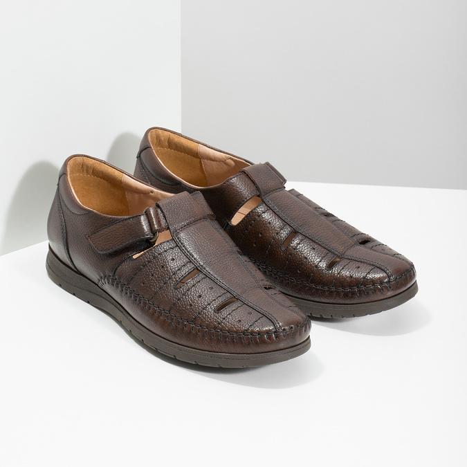 Pánské kožené sandály s pohodlnou podešví comfit, hnědá, 854-4602 - 26