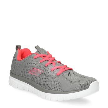 Sportovní růžovo-šedé tenisky dámské skechers, šedá, 509-2418 - 13