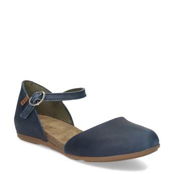 Dámské kožené sandály s plnou špicí el-naturalista, modrá, 526-9010 - 13
