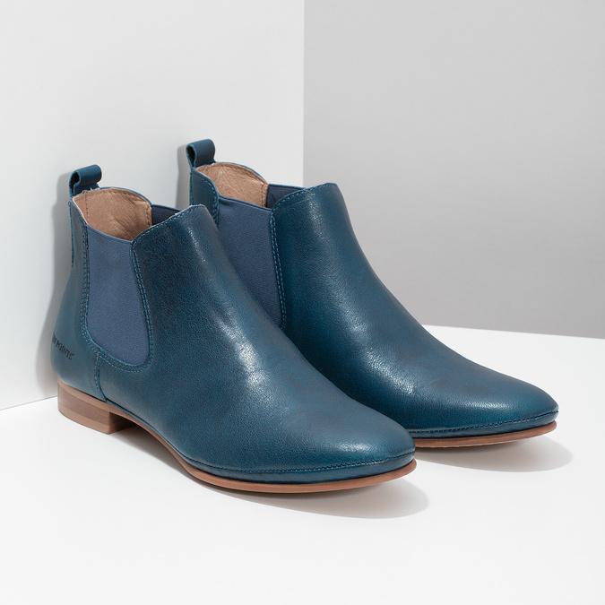 Dámské kožené modré Chelsea Boots ten-points, modrá, 516-9044 - 26