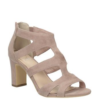 Růžové sandály na stabilním podpatku insolia, růžová, 769-5617 - 13