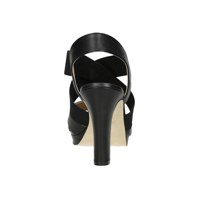 Černé kožené sandály na podpatku s pružením insolia, černá, 766-6606 - 15