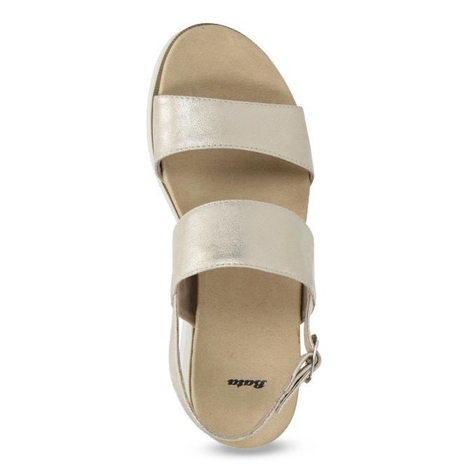 Béžové metalické sandály na flatformě bata, zlatá, 761-8632 - 17