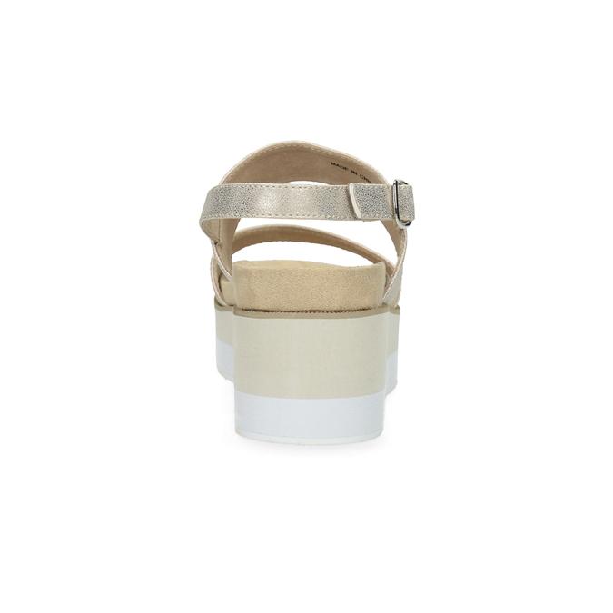 Béžové metalické sandály na flatformě bata, zlatá, 761-8632 - 15