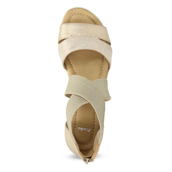 Zlaté dámské sandály na klínku bata, béžová, 569-8608 - 17