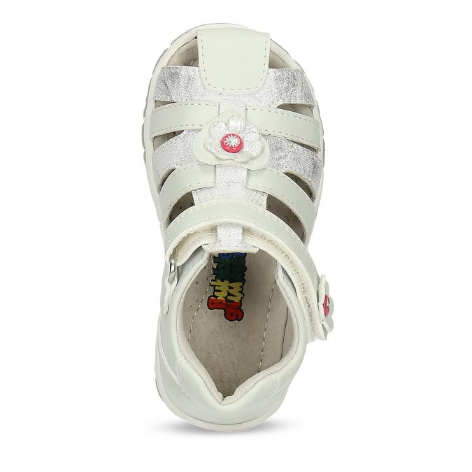 Kotníčkové dětské sandály s květinovou ozdobou bubblegummers, bílá, stříbrná, 161-1607 - 17