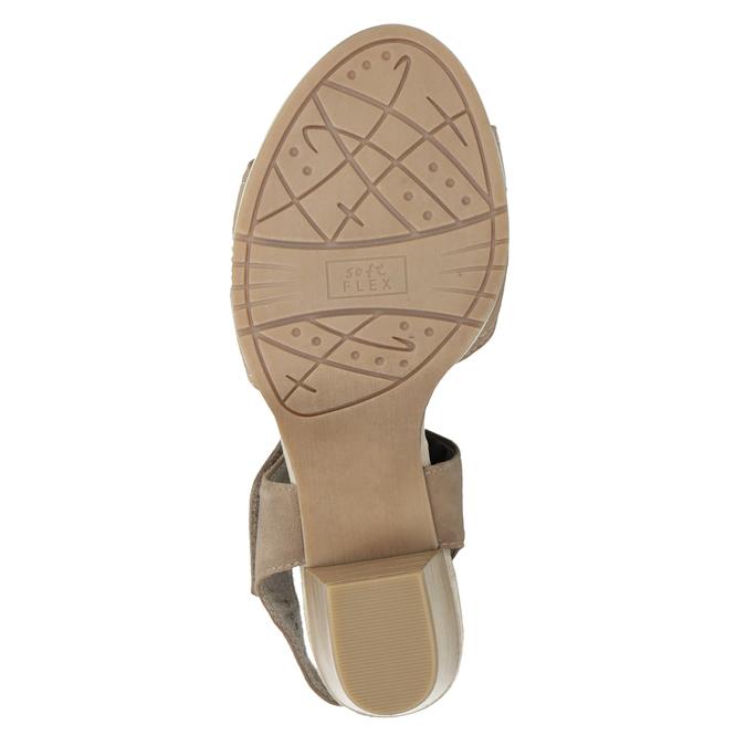 Kožené sandály šíře H s kamínky bata, béžová, 666-8616 - 17