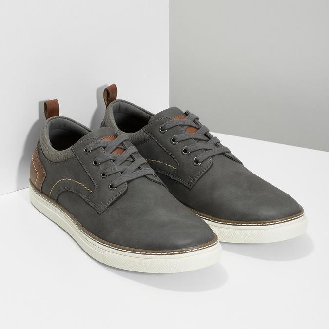 Pánské tenisky s prošitím bata-red-label, šedá, 841-2618 - 26