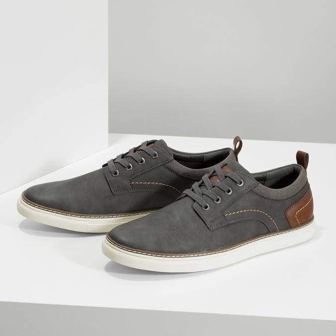 Pánské tenisky s prošitím bata-red-label, šedá, 841-2618 - 16