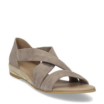 Béžové dámské kožené sandály na klínku bata, béžová, 563-4600 - 13
