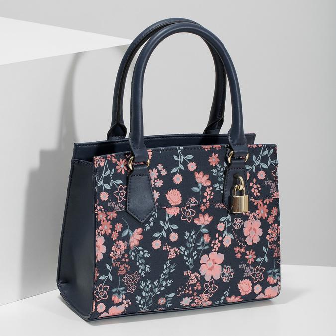 Modrá kabelka s květinovým vzorem bata-red-label, modrá, 961-9860 - 17