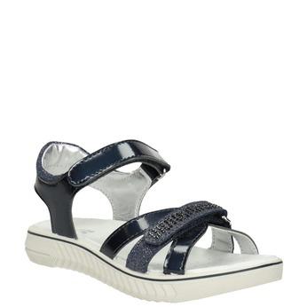 Modré dívčí sandály s kamínky mini-b, modrá, 361-9612 - 13