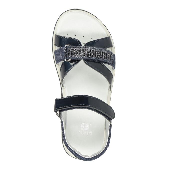 Modré dívčí sandály s kamínky mini-b, modrá, 361-9612 - 17