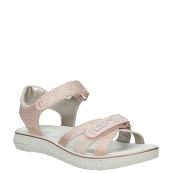 Dívčí růžové sandály s kamínky mini-b, růžová, 361-5612 - 13