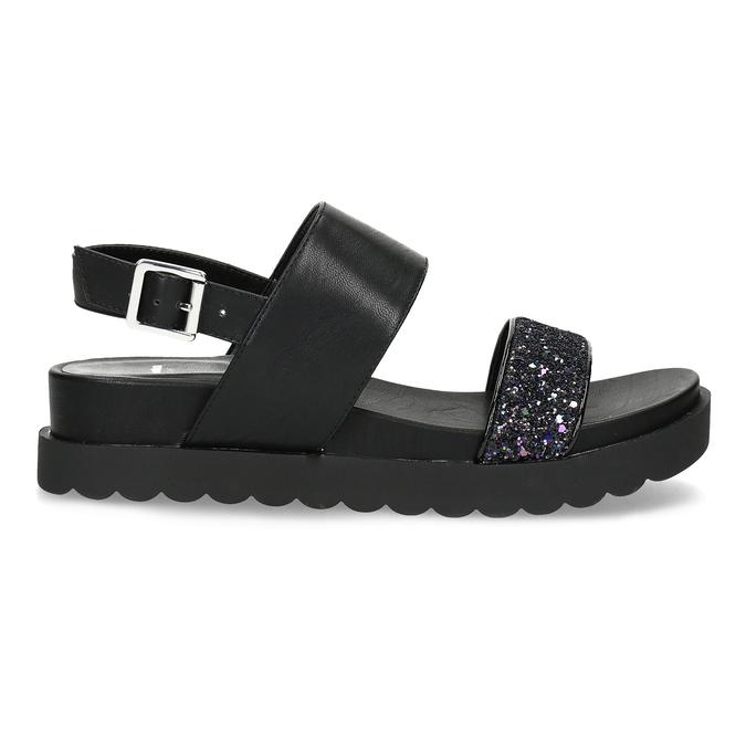 Černé sandály se třpytkami na vyšší podešvi bata-light, černá, 561-6617 - 19