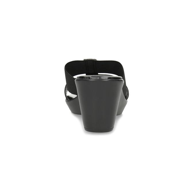 Dámské nazouváky na klínku s kamínky comfit, černá, 669-6622 - 15