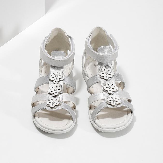 Stříbrné dívčí sandály s kytičkami mini-b, stříbrná, 261-1614 - 16