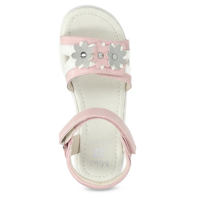 Růžovo-bílé dívčí sandály s kytičkami mini-b, růžová, 261-5615 - 17