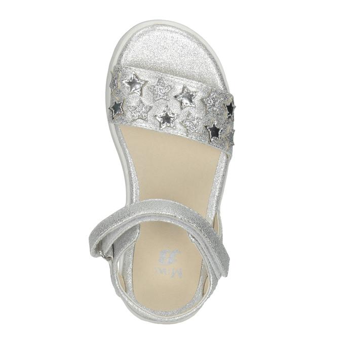 Stříbrné dívčí sandály s hvězdičkami mini-b, stříbrná, 261-1211 - 17