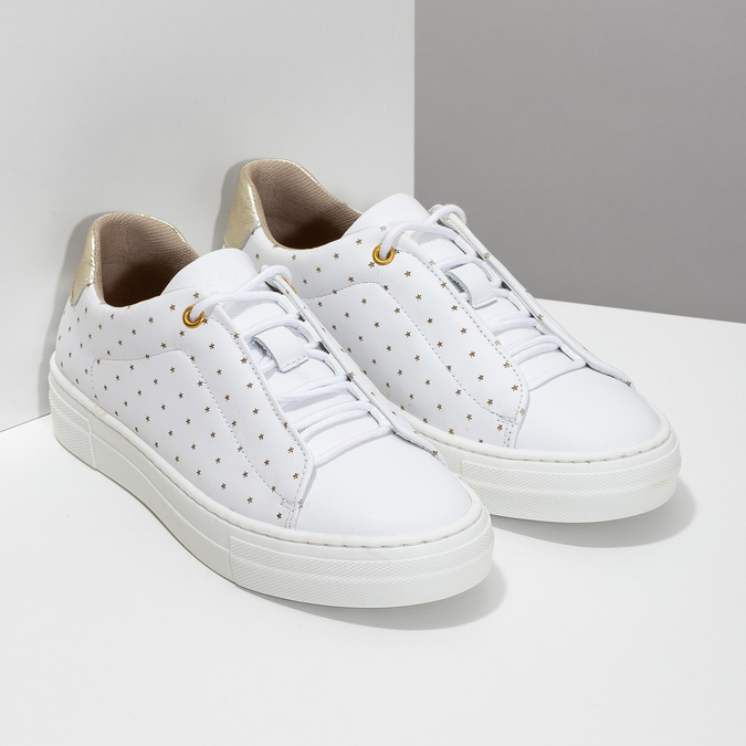 Dívčí kožené bílé tenisky s hvězdičkami bullboxer, bílá, 326-1607 - 26