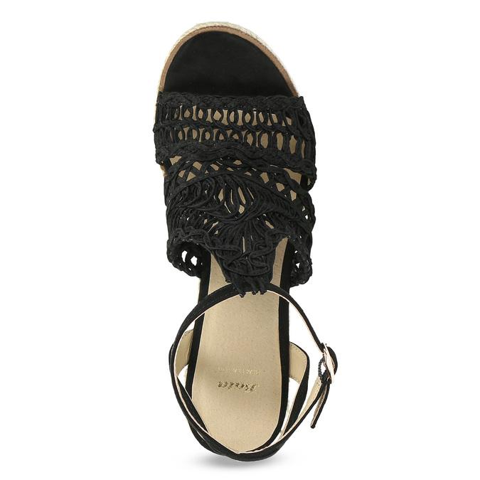 Černé  proplétané sandály na platformě bata, černá, 759-6633 - 17