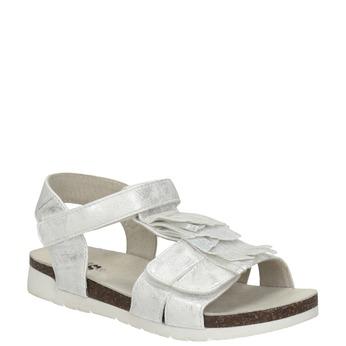 Stříbrné dívčí sandály mini-b, bílá, 261-1612 - 13