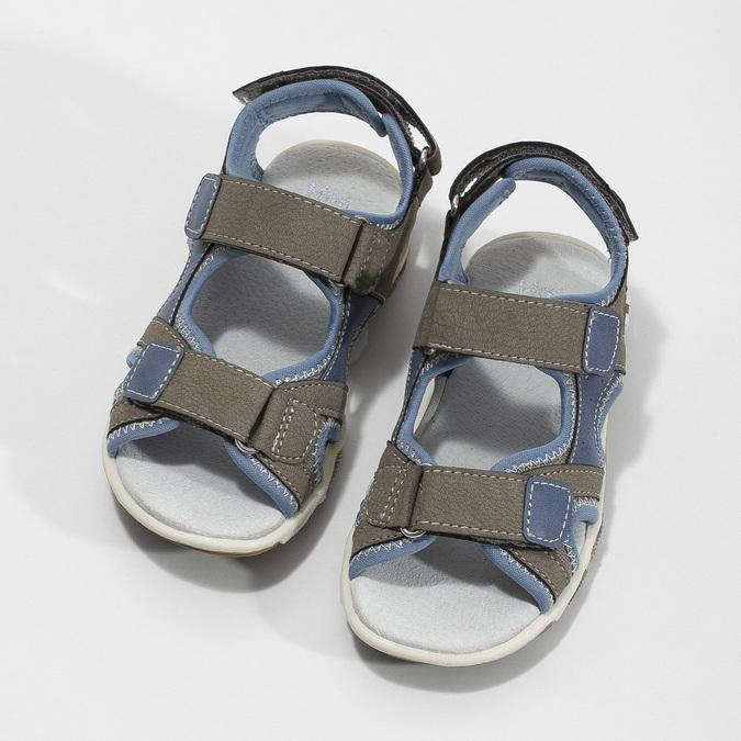 Chlapecké sandály na suchý zip šedo-modré mini-b, hnědá, 261-3608 - 16