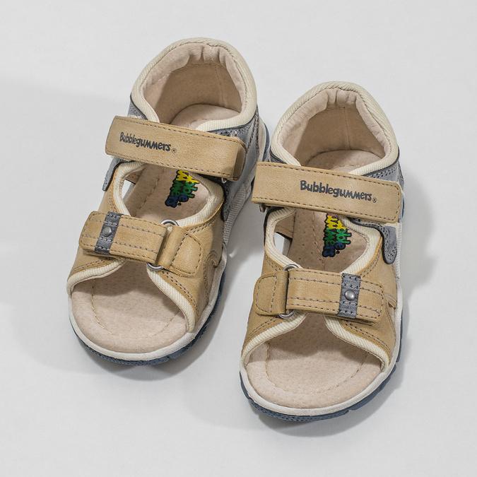 Dětské sandály na suché zipy bubblegummers, hnědá, 161-3606 - 16