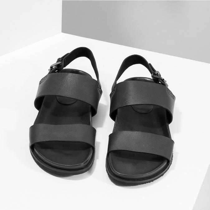 Černé pánské minimalistické kožené sandály bata, černá, 866-6638 - 16