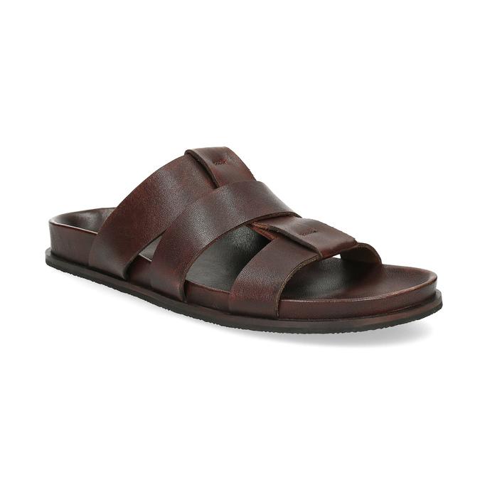 Hnědé pánské minimalistické kožené nazouváky bata, hnědá, 866-4639 - 13