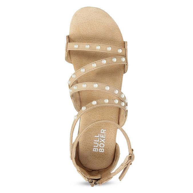 Dívčí sandály s perličkami bullboxer, béžová, 361-8609 - 17