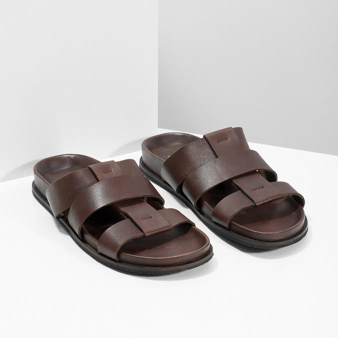 Hnědé pánské minimalistické kožené nazouváky bata, hnědá, 866-4639 - 26