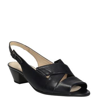 Kožené černé sandály šíře H gabor, černá, 666-6351 - 13
