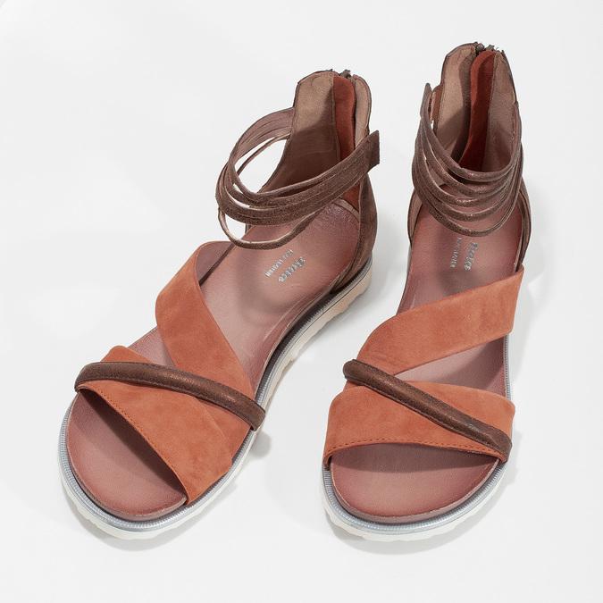 Kožené sandály s plnou patou bata, oranžová, 566-5646 - 16