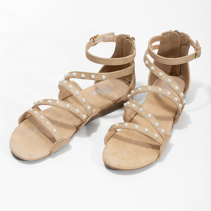 Dívčí sandály s perličkami bullboxer, béžová, 361-8609 - 16