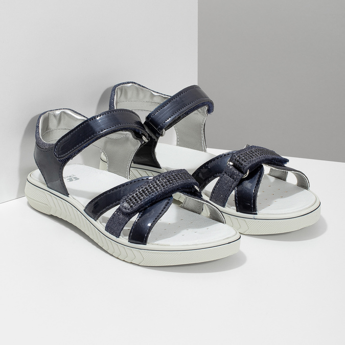 Modré dívčí sandály s kamínky mini-b, modrá, 361-9612 - 26