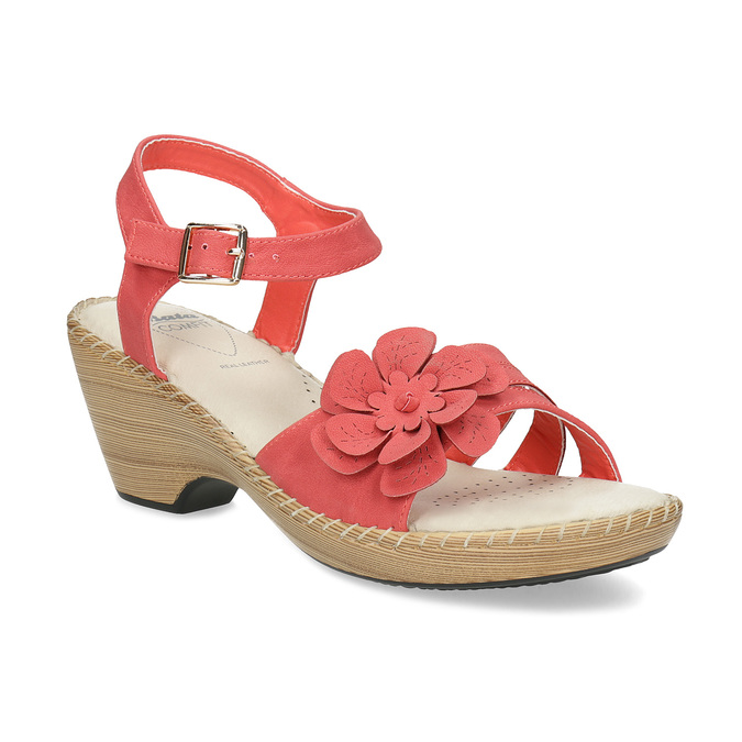 Sandály na stabilním podpatku s kytičkou comfit, červená, 661-5613 - 13