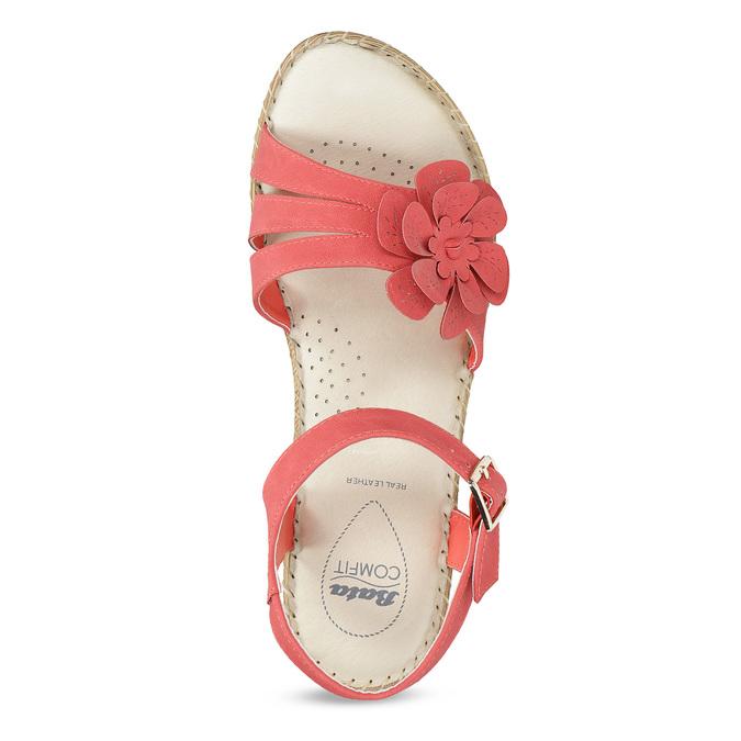 Sandály na stabilním podpatku s kytičkou comfit, červená, 661-5613 - 17