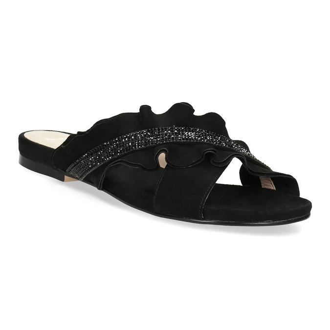 Černé dámské nazouváky s volánem a kamínky bata, černá, 569-6602 - 13