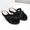 Černé dámské nazouváky s volánem a kamínky bata, černá, 569-6602 - 26