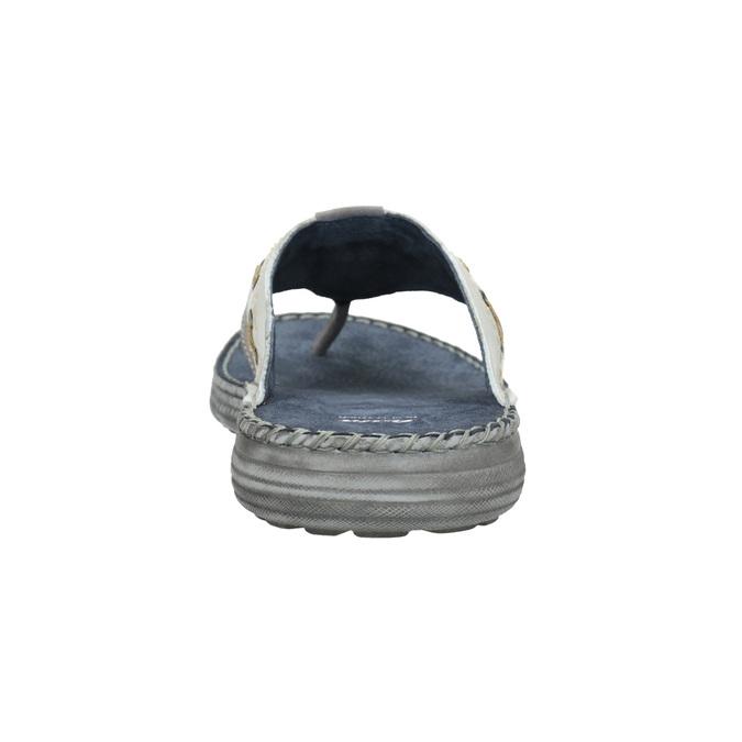 Pánské kožené žabky zdobené bata, šedá, 866-2845 - 15