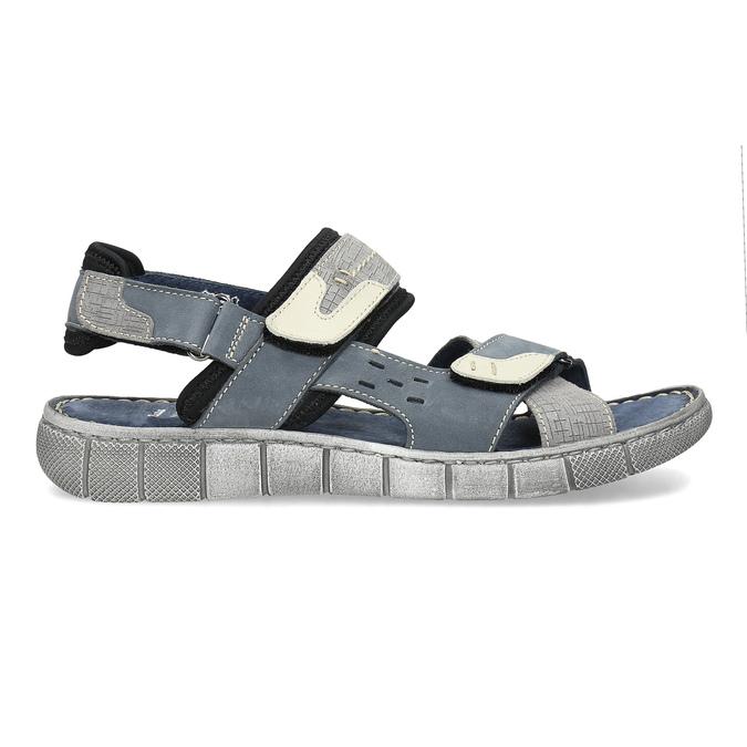 Modré kožené pánské sandály na suchý zip bata, modrá, 866-9640 - 19