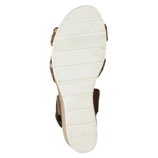 Kožené pletené sandály na klínku hnědé bata, hnědá, 666-4622 - 19