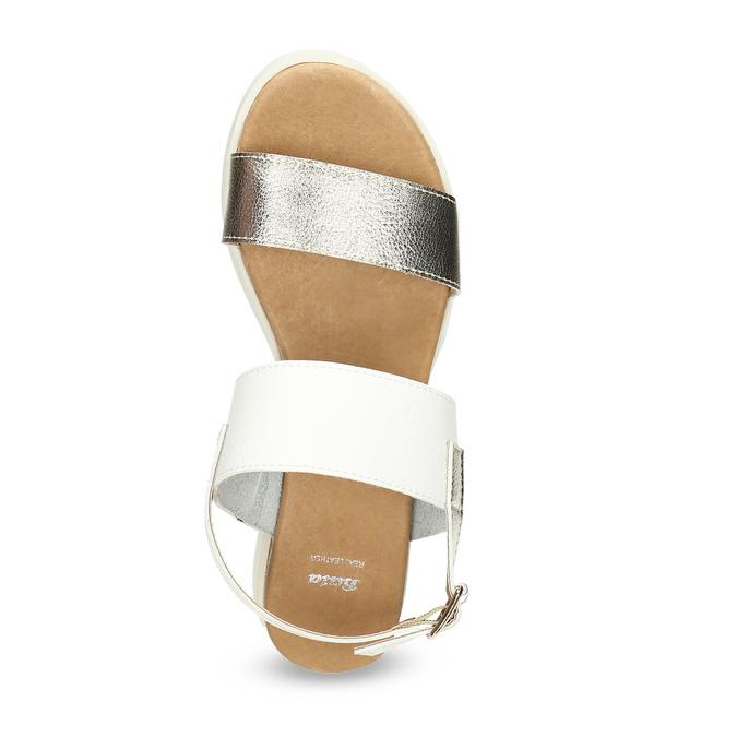 Dámské sandály se zlatými pásky na flatformě bata, bílá, 661-1614 - 17