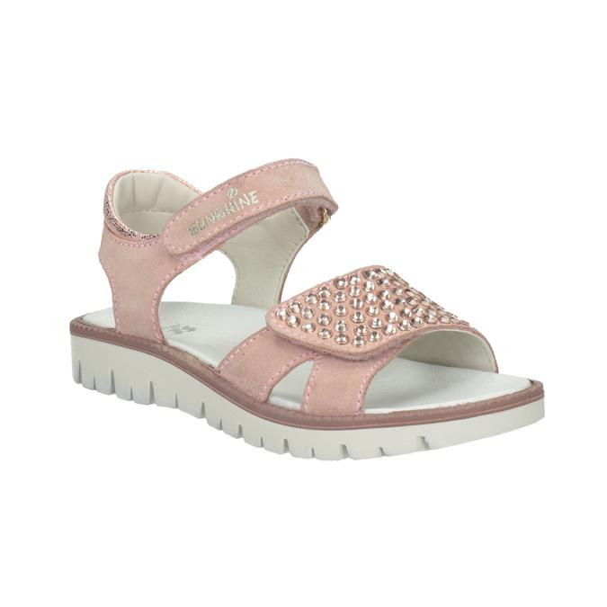 Dívčí kožené sandály s kamínky růžové mini-b, růžová, 463-5603 - 13